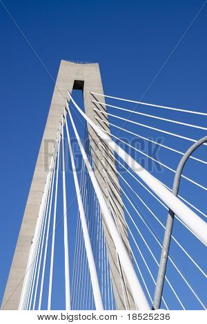 detail of ravenel suspension bridge, charleston sc