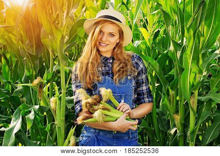 Let's Have A Corn. Portrait Of Attractive And Young Girl In Hat And Coveralls Holding Corn While Sta