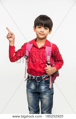 indian smart kid in red shirt and denim jeans with school bag, standing over white background
