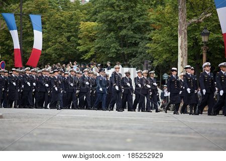 Paris France - July 14 2012. Soldiers from the French Foreign Legion march during the annual military parade in honor of the Bastille Day.