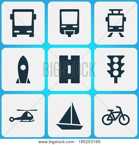 Transportation Icons Set. Collection Of Way, Railroad, Chopper And Other Elements. Also Includes Symbols Such As Rocket, Traffic, Trolley.