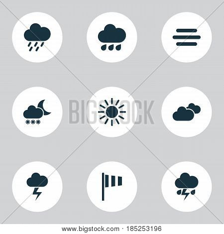 Climate Icons Set. Collection Of Haze, Flag, Douche And Other Elements. Also Includes Symbols Such As Lightning, Sun, Hate.