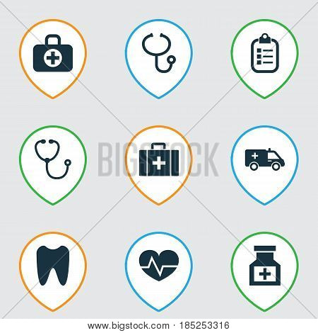 Drug Icons Set. Collection Of Review, Claw, Beating And Other Elements. Also Includes Symbols Such As Record, Ambulance, Medicine.