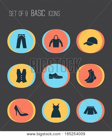 Dress Icons Set. Collection Of Sweatshirt, Trilby, Heel Footwear And Other Elements. Also Includes Symbols Such As Shoes, Male, Socks.