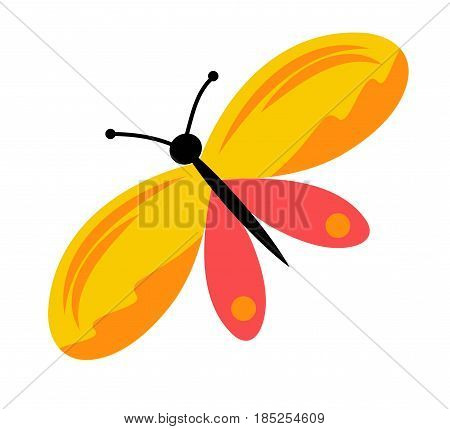 Cartoon bright yellow pink butterfly. Simple vector illustration