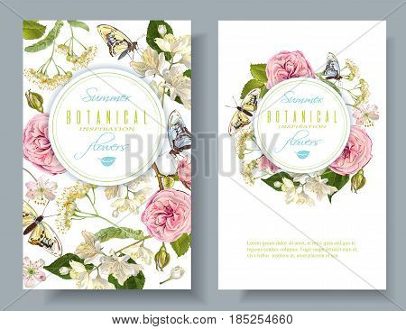 Vector botanical vertical banners with rose, linden, jasmine flowers and butterflies. Design for tea, natural cosmetics, perfume, health care products. Can be used as greeting card, wedding invitation