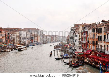 Venice grand canal in a foggy misty day Venezia Italy