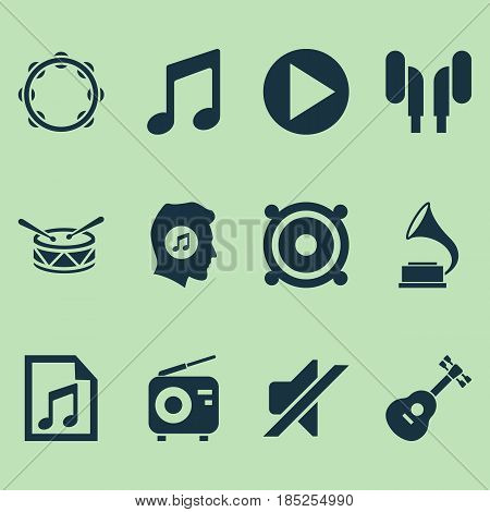 Multimedia Icons Set. Collection Of Meloman, Timbrel, File And Other Elements. Also Includes Symbols Such As Instrument, Tuner, Volume.