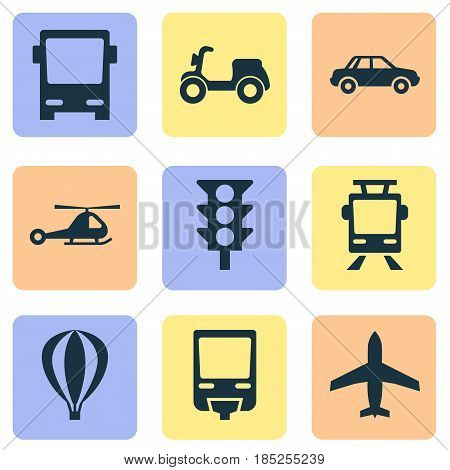 Shipment Icons Set. Collection Of Streetcar, Railroad, Aircraft And Other Elements. Also Includes Symbols Such As Flight, Streetcar, Airplane.