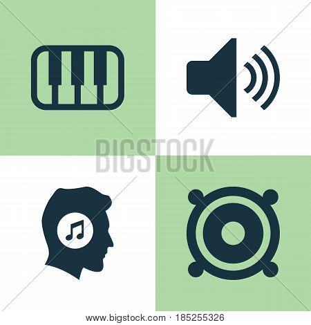 Music Icons Set. Collection Of Sound, Megaphone, Meloman And Other Elements. Also Includes Symbols Such As Sound, Loudspeaker, Piano.