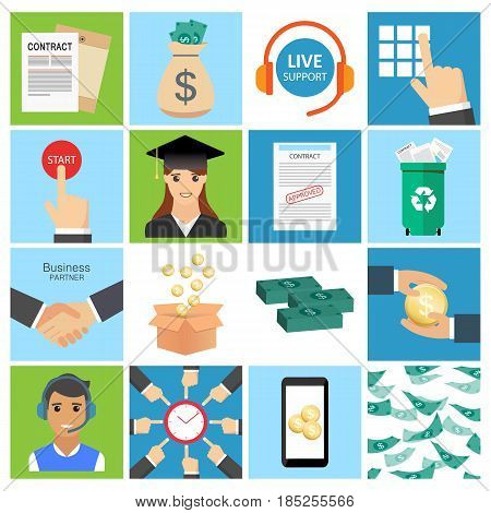Business Icon Set. Collection Of Business, Money And Collaboration Concept.