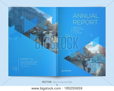 Cover design annual report, cover, vector template brochures, flyers, presentations, leaflet, magazine a4 size. Geometric abstract templates - stock vector