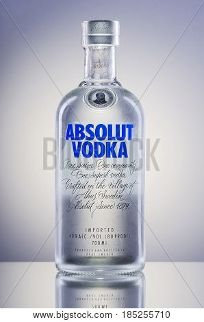 Absolut vodka on gradient background. Absolut vodka has been produced in southern Sweden since 1879. Absolut was bought by Pernod Ricard group in 2008