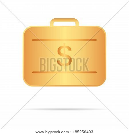 Golden Suitcase With Money. Vector Illustration. Your Personal Secure Storage.