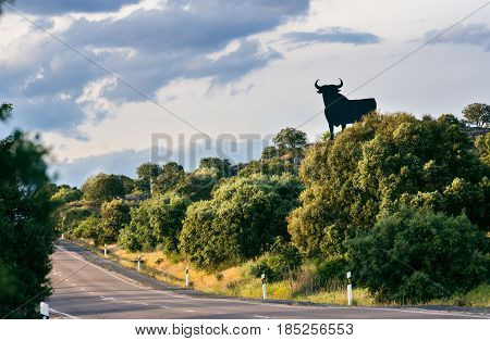 Osborne bull. black silhouetted image of a bull in semi-profile which can be seen at spanish roadsides.