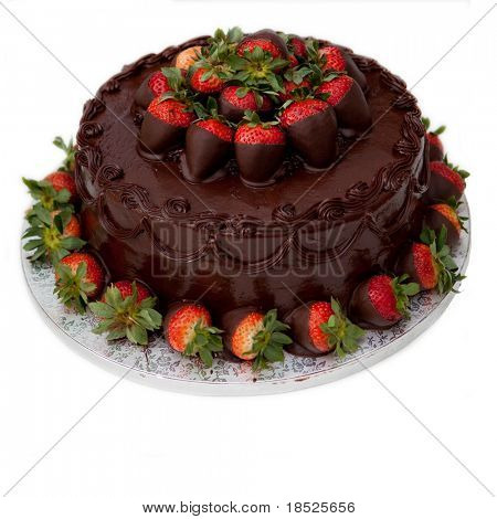 chocolate cake with strawberries, isolated on white
