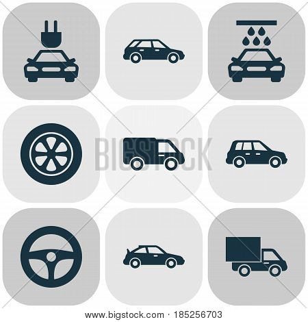 Auto Icons Set. Collection Of Transport Cleaning, Drive Control, Wheel And Other Elements. Also Includes Symbols Such As Water, Wheel, Lorry.