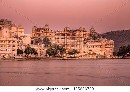 Long exposure lake Pichola and Taj Lake Palace , Udaipur, Rajasthan, India, Asia.