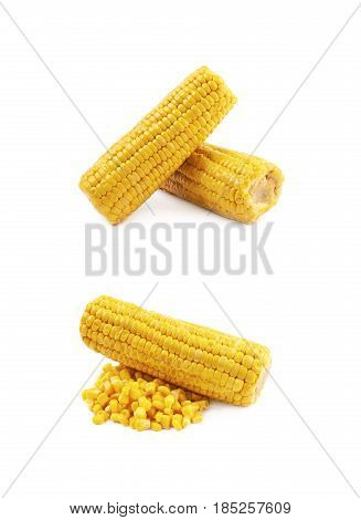 Composition of two corncobs isolated over the white background, set of two different foreshortenings