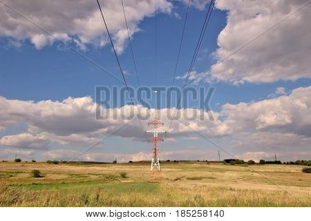 Electric power line, sky and blue sky