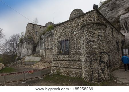 MORSKO, POLAND - May 03, 2017: Castle Bakowiec - the remains of a knight's castle from the XIV century, lying on the Krakow-Czestochowa Jura, built in the system of the so-called Eagles' Nests