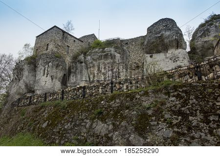 MORSKO POLAND - May 03 2017: Castle Bakowiec - the remains of a knight's castle from the XIV century lying on the Krakow-Czestochowa Jura built in the system of the so-called Eagles' Nests