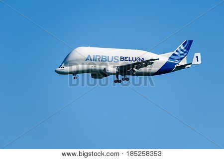 CHESTER United Kingdom - MAY 07 2017: Airbus Beluga cargo transporter aeroplane. Airbus has five Beluga aircraft used to transport parts across Europe.