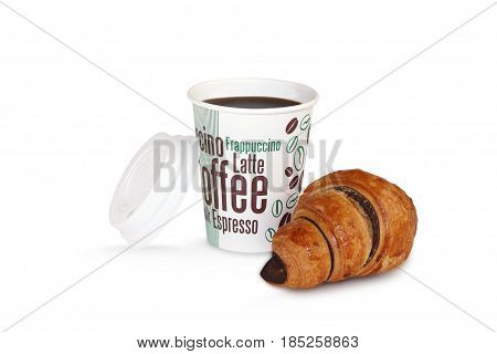 French croissants and coffee on white background