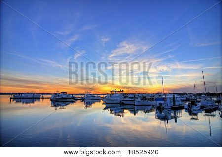 marina in beaufort south carolina, hdr image poster