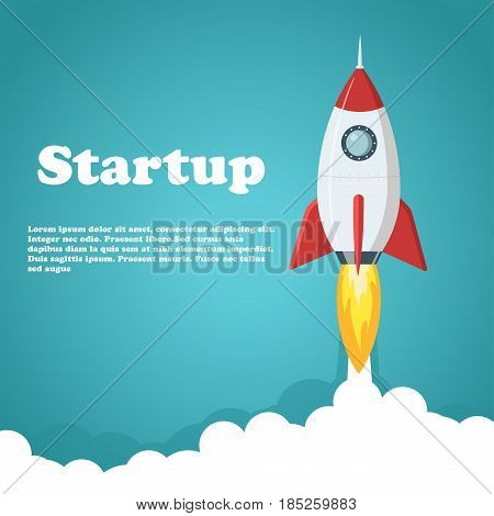 Rocket launch illustration. Business or project startup banner concept. Flat style vector illustration