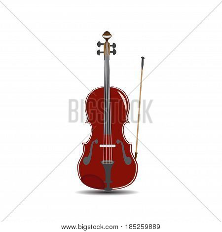 Vector illustration of violin isolated on white background. Flat style design.