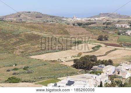 An image taken from the Citadel showing the surrounding countryside around Victoria Gozo.
