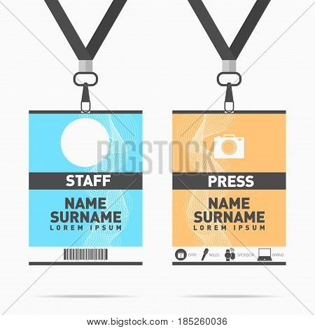 Event staff and press id cards set with lanyards. Vector design for badge holder templates