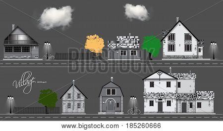 Assorted cute houses collection. Couds, bicycle , road Background vector