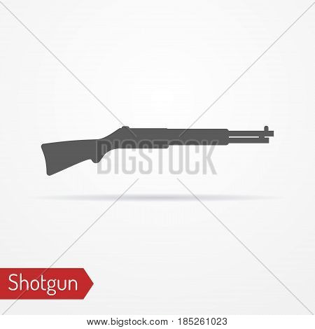 Abstract isolated rifle icon in silhouette style with shadow. Typical police special forces or hunter weapon. Military vector stock image.