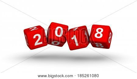 2018 year sign. Flying baby blocks with number 2018. 3D illustration for Christmas design isolated on white background.