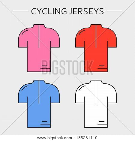 Types of cycling jerseys. Four linear simple icons of main jerseys of cycling championship. Pink, red, blue and white pullovers isolated on light grey background.