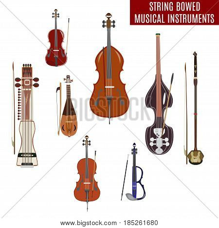 Vector set of string bowed musical instruments in flat design. Classical and electric violin, double bass, erhu, rebec, cello, sarangi isolated on white background.