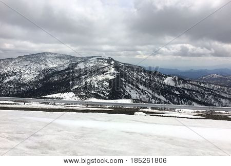 View of the Zao mountain range under the snow in Japan