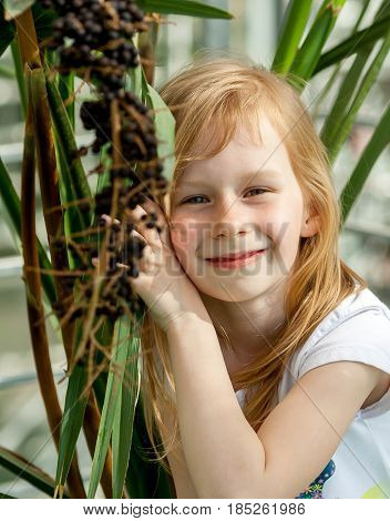 livistona chinensis, portrait, little girl seven years, sitting next palm tree, botanical garden, looking at camera, sweet, smiling, long wheat hair, happy child, sunny, bright , tilt head plant