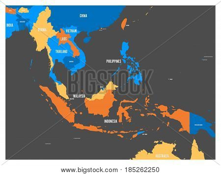 South East Asia political map in four colors with white country names labels. Simple flat vector illustration.