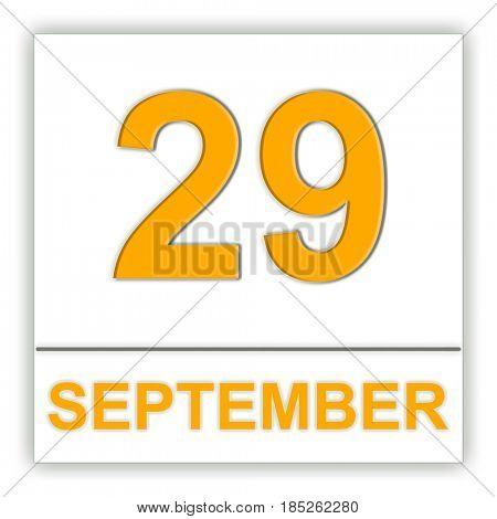 September 29. Day on the calendar. 3D illustration