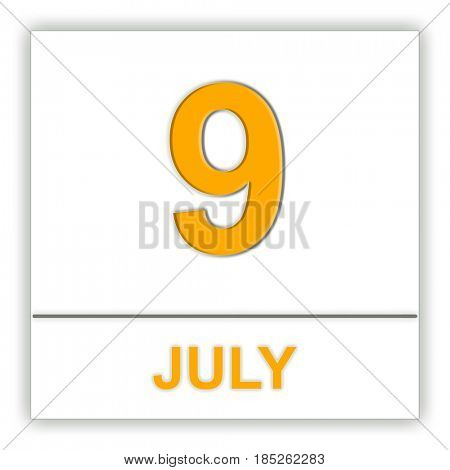 July 9. Day on the calendar. 3D illustration