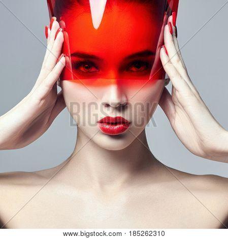 Fashion art photo. Pure perfect skin and natural makeup skin care natural cosmetics. Long eyelashes and big eyes. Beautiful attractive Nude woman. Natural makeup on a girl's face