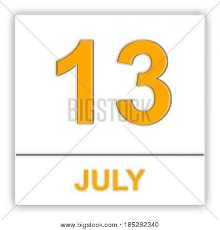 July 13. Day on the calendar. 3D illustration