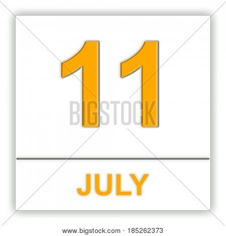 July 11. Day on the calendar. 3D illustration