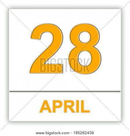 April 28. Day on the calendar. 3D illustration