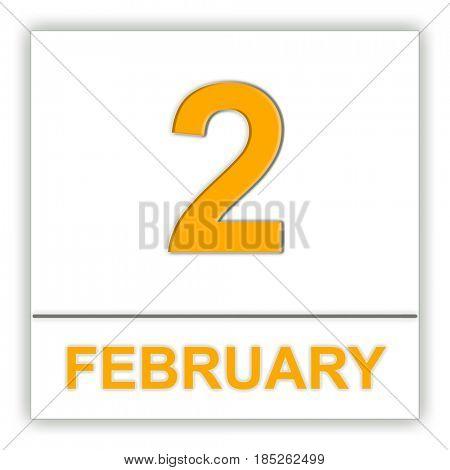 February 2. Day on the calendar. 3D illustration
