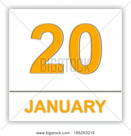 January 20. Day on the calendar. 3D illustration