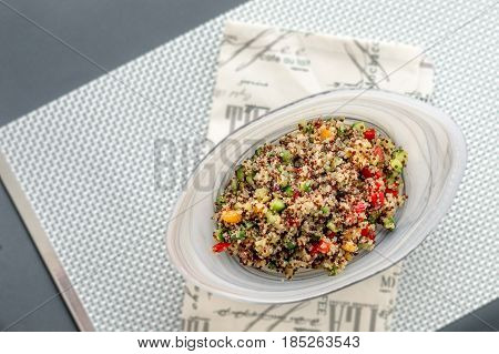 Quinoa salad viewed from above. Quinoa salads are very healthy and easy to do! Quinoa is a grain that originate from South America it's often called a super food due to its high nutritional content.